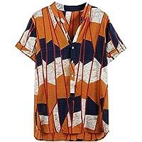 YWAWJ Camiseta de Manga for Hombre Floral Impresa Ocasional Hombres Camiseta étnica Corta Impresa Sueltos Camisas Ocasionales (Size : Medium)