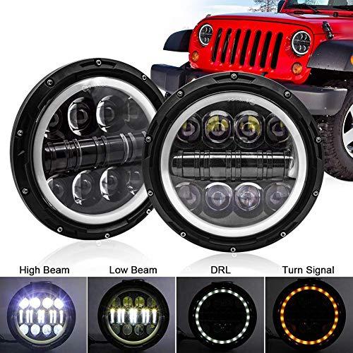 Safego 500W 7' Fari Anteriore Lampada Moto LED Luce per J-eep Wrangler JK TJ LJ Harley Davidson, 40000LM Halo Angel Eyes DRL, 2 pezzi, 1 anno di Garanz