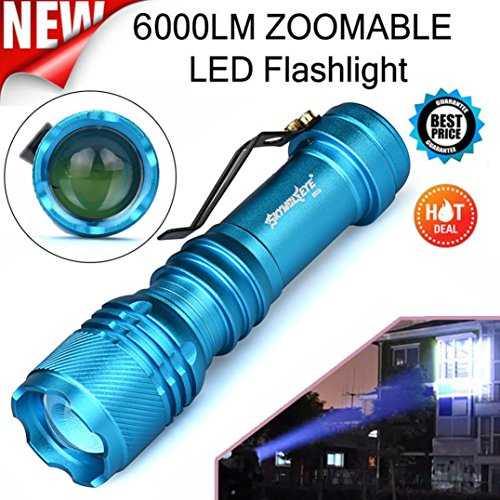 TopTen Taktische Taschenlampe, 6000 Lumen, einstellbarer Fokus, super hell, 3 Leuchtmodi, wasserdichte LED-Taschenlampen Camping-Lampe