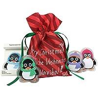 Preisvergleich für Taschenwärmer Pinguin (4er Set) & Geschenkbeutel Weihnachten - tolles Wichtelgeschenk, Weihnachtsges