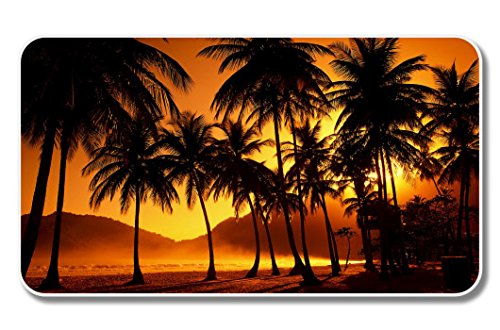 VINMEA Sunset Tropical Scene Palm Trees Vinyl Sticker - 6-Inch Bahama Becher