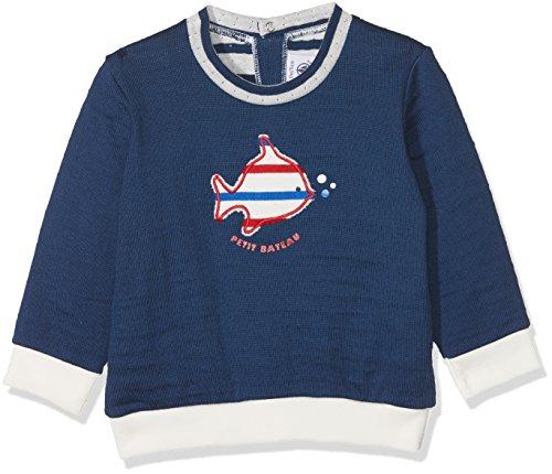 Petit Bateau Baby-Jungen Sweatshirt Sweat Shirt 28230, Blau (Medieval 43), 92 (Herstellergröße: 24m/86cm)