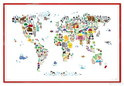 Close Up Animal Map of The World Poster Michael Tompsett Weltkarte (63,5x94 cm) gerahmt in: Rahmen rot - Michael Tompsett Weltkarte
