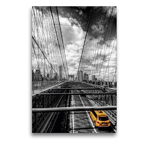 CALVENDO Tela in Tessuto 50 cm x 75 cm di Altezza, New York - Brooklyn Bridge, Immagine su Telaio a Cunei, Stampa su Tela con Ponte in ColorKey con Taxi Orte