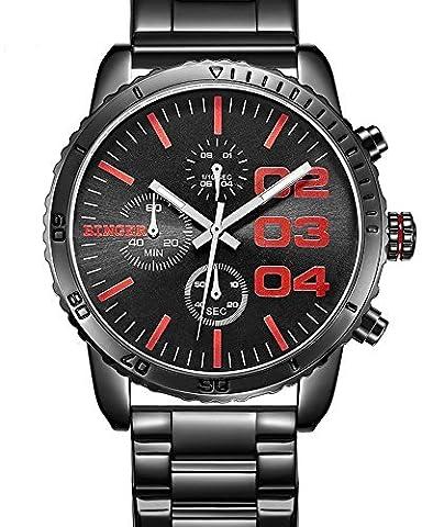 Binger Herren Quartz Schwarz Blau Dial Chronograph anzeigen Edelstahl Wasserdicht Armbanduhr (Red) (Chronograph Metal-band)