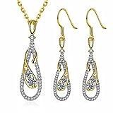 Mes-Bijoux-Bracelets Parure Doré Or Jaune 750/000 18ct carats Cadeau Femme Bijou Fantaisie Haut de Gamme Cristal Strass Femme Jaune Goutte wz-P0036