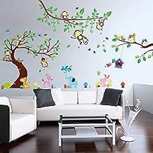 Stickerkoenig Wandtattoo Mega XXXL Wandsticker Set 340x250cm Groß Afrika  Tiere Baum Elefant, Löwe, Affen