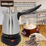 0Miaxudh Kaffeekanne, 800W Edelstahl, elektrischer Mokka, Italienischer Espressokanne Kaffeemaschine Filter - EU-Stecker