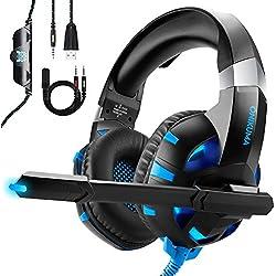 Auriculares Gaming para PS4 Xbox One o PC con Micrófono y Luz LED, ONIKUMA Auriculares de Diadema con Cancelación de Ruido y 7.1 Sonido Envolvente Cascos Gaming Headset Para Nintendo Switch Móvil
