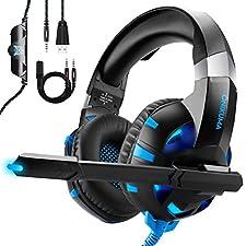 Cascos Gaming Headset Para PS4, ONIKUMA Auriculares Gaming con Micrófono para PS4 Xbox One Nintendo Switch o PC Y Móvil, Auriculares de Diadema con Cancelación de Ruido Mic y 7.1 Sonido Envolvente