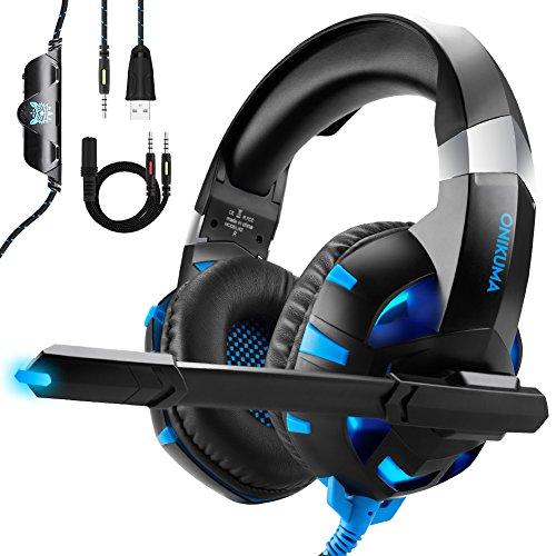 Cuffie Gaming Auricolare per PS4 Xbox One PC Con Microfono LED Luce Regolatore, ONIKUMA Suono Stereo Headset per Nintendo Switch Cuffie Gaming Con Grandi Altoparlanti da 50mm /Cancellazione del Rumore