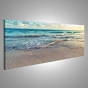 Quadro moderno Beach mare di sabbia Stampa su tela - Quadro x poltrone salotto cucina mobili ufficio casa - fotografica formato XXL