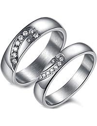 Flongo 2 Anillos pareja, Hombres Mujer, Corazón brillante, anillos compromiso/matrimonio,