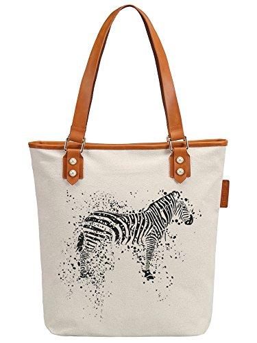 S.CHU Women's Zebra Canvas Leather Tote Handbag Ladies Shoulder Bag (Handtasche Zebra-print Satchel)
