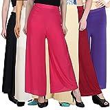 Pixie Stylish Women's Casual Wear Malai Lycra Pant Palazzo Combo (Pack of 6) - Free Size