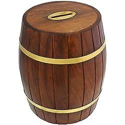 Hucha en forma de barril de madera tallada a mano por artesanos