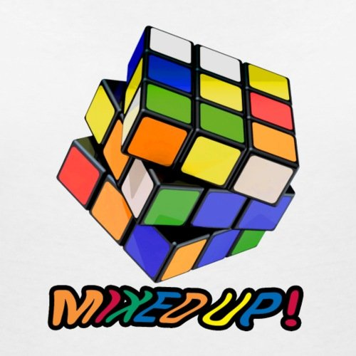 Rubik's Cube Mixed Up État Mélangé T-shirt col V Femme de Spreadshirt®‎ Blanc