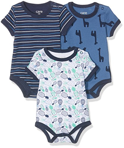 Care Body Bebé Manga Corta, pack de 3, Multicolor (Dunkel Blau), 98