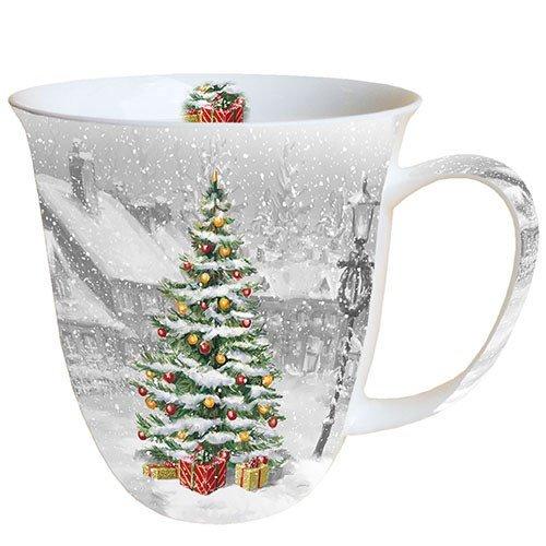 Ambiente Weihnachten Tasse Weihnachtsbaum auf einem quadratischen Tasse 0,4 l Fine Bone China Porzellan Becher Bone China, Mug, Tasse, Fuer Tee Oder Kaffee ca. 0,4L Tree On Square -Ideal Als Geschenk Bone China Fine China Mug