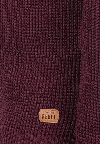 REDEFINED REBEL Maxwell Herren Pullover Strickpulli Rundhals Bordeaux