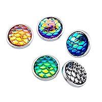 Souarts Mini Bouton à Pression pour Bracelet Ecaille Rond Multicolore 10pcs