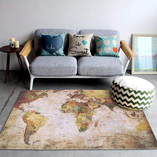 Zerodis Alfombra de Mapa del Mundo Vintage