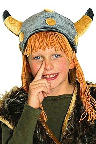 Wikinger-Helm, Plüsch/Velour mit Haar, (Tapfere Kostüme Wikinger)