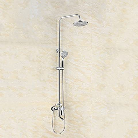 BFDGNResistente e robusto il rame spazzolato Rubinetti per lavandini bagno Cu tutti i diamanti nella parete doccia Vasca da bagno 4 porta boost parete doccia multifunzione Rubinetti per lavandini bagno (Dare 1/2 Hot &a freddo dei tubi flessibili acqua )