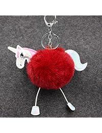 2017 Cute Fluffy Unicorn Keychain Faux Rabbit Ball Pom Pom Horse Key Chains Bag Charms Trinket Car Key Ring Gift...