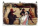 Queence   Wandbild Druck auf Papier   Poster mit Klammern 4-TLG.   Shabby-Look   Unikat   Vintage   'Erzählstunde', Größe:150x100 cm