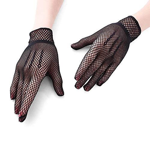 3 Paar Netzhandschuhe 80er Custome Zubehör für Frauen Braut Hochzeit Handschuhe Party Phantasie Kostüme Verschiedene Handschuhe (Color : Black)