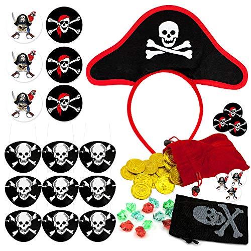 Kostüm Schatz Piraten - Oblique Unique® Pirat Kostüm Accessoire Set für Kinder Geburtstag Fasching Karneval Jungs - Augenklappen + Buttons + Piraten Hut Haarreifen + Piraten Beutel mit Gold Schatz und Diamanten