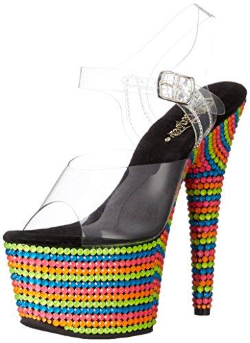 Mehrfarbig 708rbs clr D'amore mehrfarbig Donna Toe Multi Sandali Pleaser Neon Open xY5Znawgg