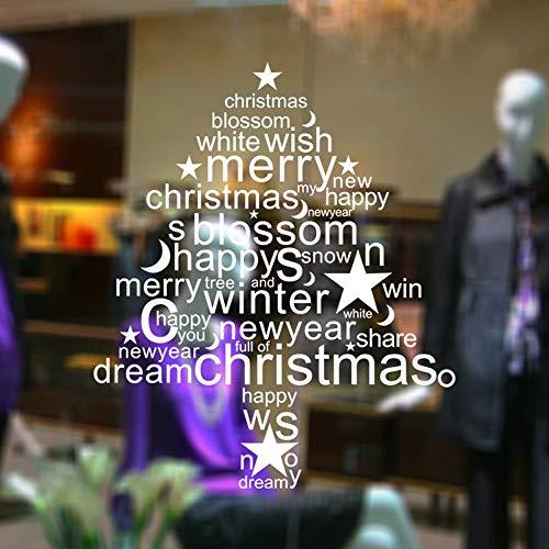 TYOLOMZ Wish You Merry Christmas Shop Adesivi murali Lettere rimovibili Art Mural Vinile Adesivi murali vetrine Adesivo Decorazioni per la casa di Natale