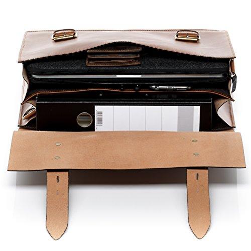 """SID & VAIN XL Aktentasche BRIGHTON - Laptoptasche XL fit für 15.4"""" mit Extra-Abtrennung- Businesstasche mit Schultergurt festes Material - echt Sattelleder schwarz hellbraun-cognac"""