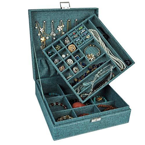 LL LIKJNM 2-Schicht-Quadrat Leinen Halskette Aufbewahrungsbox Schmuck Organizer Aufbewahrungskoffer mit Schloss Geschenke für Frauen,G - Asiatische Badezimmer