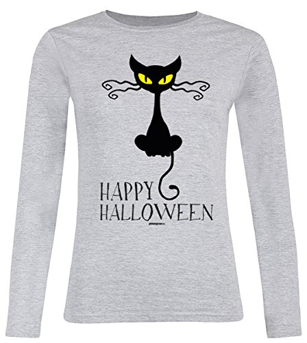 Fun Langarmshirt Damen - Happy Halloween Cat - T-Shirt Unisex, Farbe: Grau (Scary Cat Halloween Kostüme)