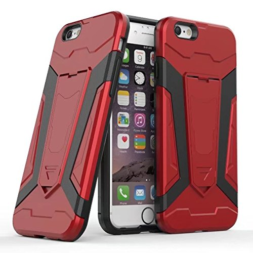 EKINHUI Case Cover Neue Rüstung Tough Style Dual Layer Hybrid Armor Defender PC Hard Shell Cover mit Kickstand [Shockproof Case] ​​Für iPhone 6 & 6s ( Color : Brown ) Red