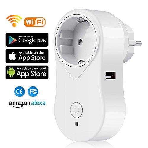 SIMBR WIFI Enchufe Inteligente con USB Nueva APP en App Store y Google Play Control Remoto Enchufe Inalámbrico Android e IOS en Casa o Oficina Blanco