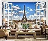 Papier Peint Intissé 3D Soie Murales Wallpaper Fenêtre Fenêtre Paysage Paris Tour De Fer Historique Mur...