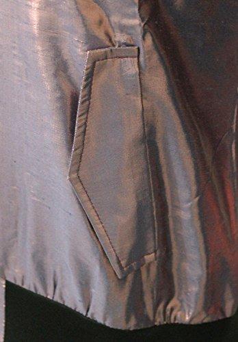 Attuendo Femmes soie métallisé zip Veste Sweatshirt Trench Metallic Blue