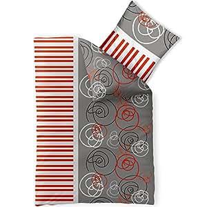 Winterbettwäsche Mikrofaser Fleece 155x220 Style Anna rot orange grau