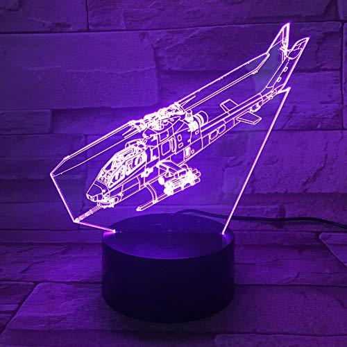 OSVD Neue Helikopter 3D Licht Remote Audio Illusion Tischlampen 7 Farbwechsel Schreibtischlampe 3D Nachtlicht