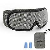 Schlafmaske Reise, HOMMINI Schlafbrille Baumwolle Augenmaske mit Verstellbarem Band Augenmaske für komplette Dunkelheit, Bequem für Kinder und Erwachsene, Reise-Schlafhilfe