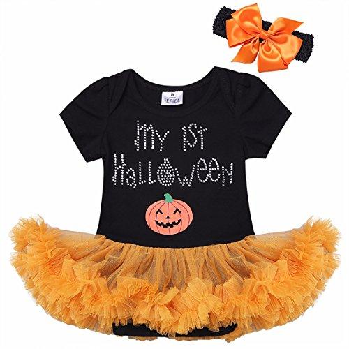 YiZYiF Baby Mädchen Kleidung Set 2-teilig Halloween Strampler Romper + Stirnband Tutu Kleid Outfits Verkleidung Kostüm Orange + Schwarz 86 (Herstellergröße: (Halloween Für Tutus)
