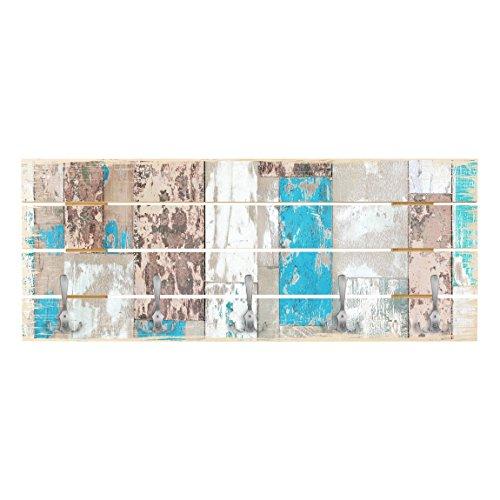 Bilderwelten Wandgarderobe Holz - Maritime Planks - Haken Chrom - Quer, 40cm x 100cm