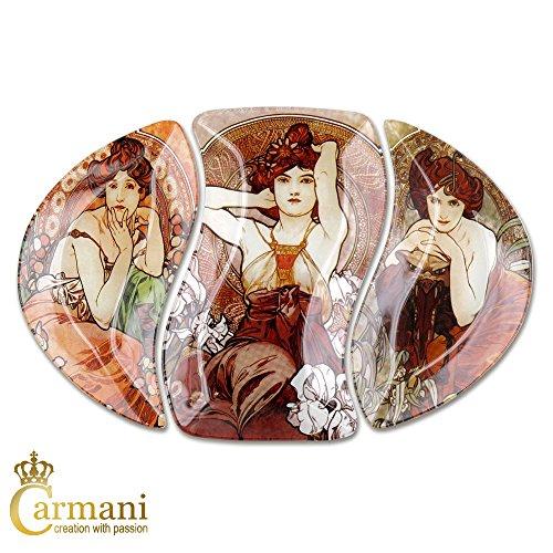 Carmani - Piatto ovale in vetro con dipinti Alphonse Mucha 38.5x26.5cm - Vetro Fragile Vetro