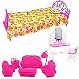 Meubles De Poupee Best Deals - CreaTion 3 ensembles Toy Doll House Furniture-petit canapé, mini-lit en plastique, table de toilette et chaise ensemble pour les meubles de chambre de poupées