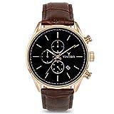 Montre bracelet de luxe Vincero Chrono S pour homme - Rose Or avec bracelet en cuir...