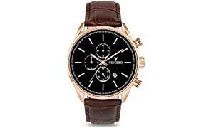Vincero Luxury Men's Chrono S Wrist Watch - Rose Gold with Brown Leather Watch Band - 43mm Chronograph Watch - Japanese Quartz Movement